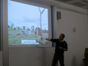 David giving the talk, showing that about 30% of the tree cavities used as nest are in dead trees (Image: Taiana Costa)